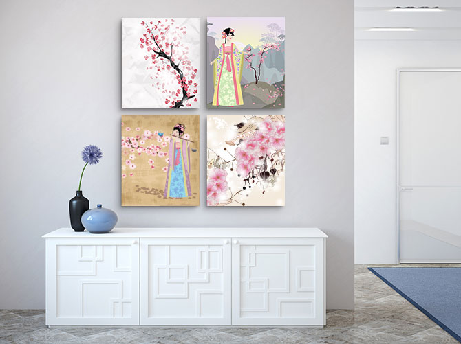 Japanese Interior Design - Geisha and Cherry Blossom Prints