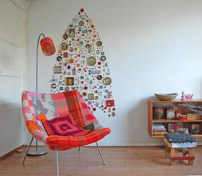 Homemade Christmas Decorations - Wall Tree Art