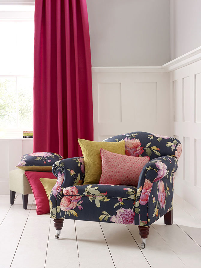 floral patterns and funky reading chairs