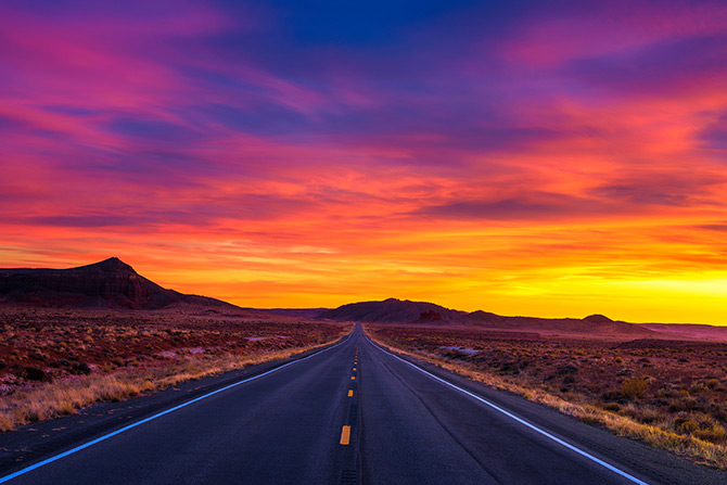 Sunset photography over road