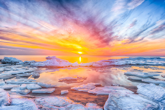 water and sunset photography