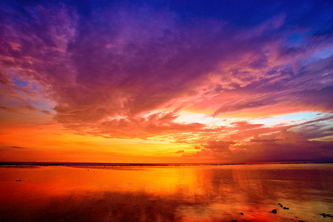 sunset photography with water