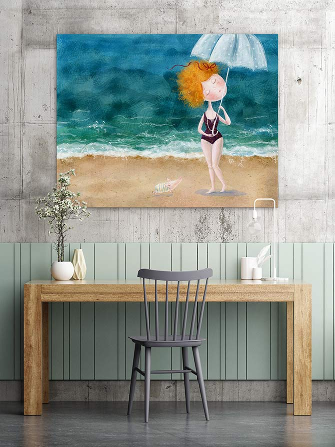beach paintings with colour