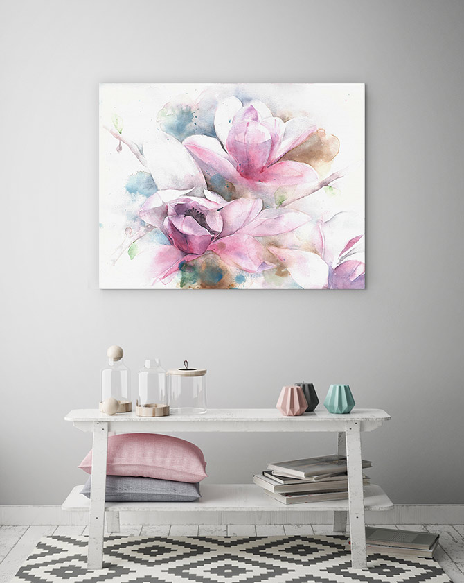 watercolour art magnolia