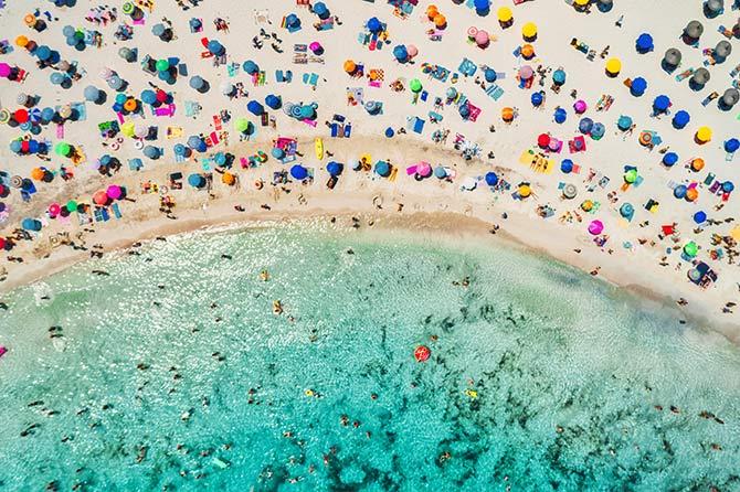 无人机摄影的海滩