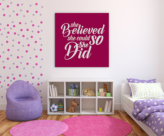 inspirational quotes for kids in a bedroom