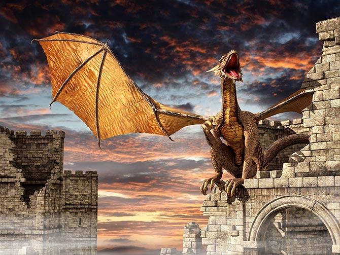 fantasy artwork with dragons