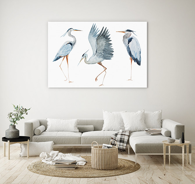 bird paintings for living room