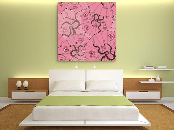Japanese Interior Design - Pink Fan Wall Art Print