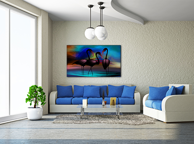 Beach House Interiors - Living Room - Abstract Pelican Print