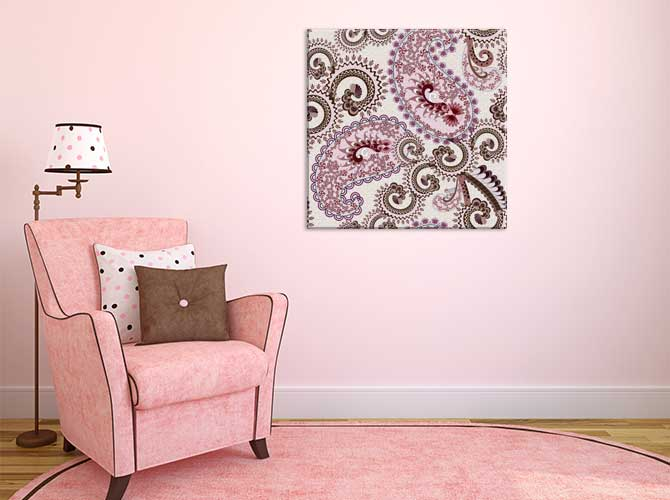 Apartment Interior Design - Pink Paisley Canvas Print