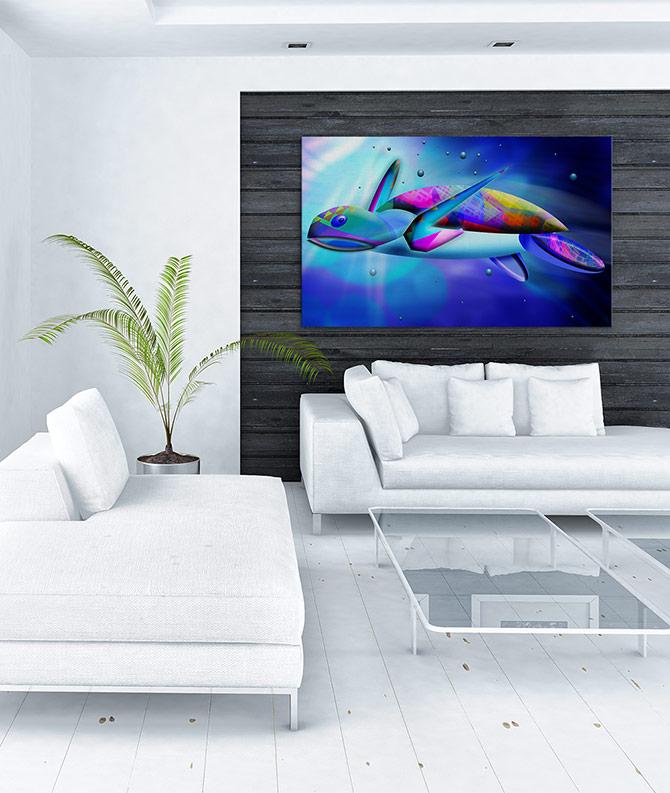 Digital Art - The Blues - Turtle