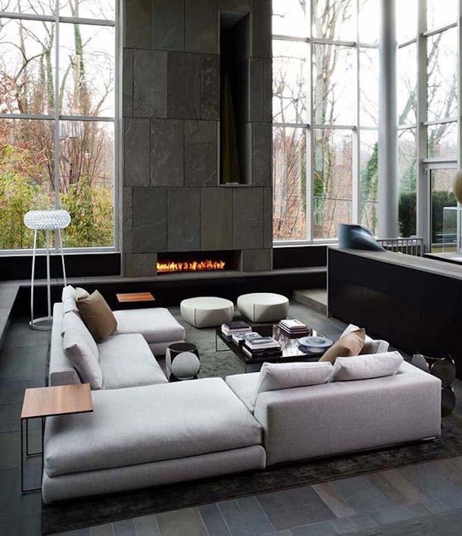 Modern Living Room - Modern Fireplace
