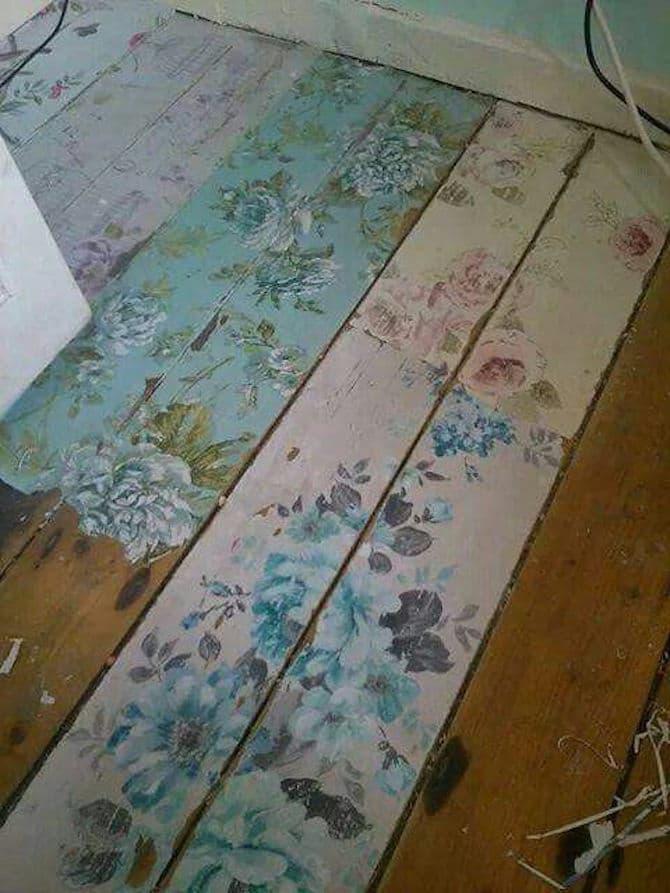 Shabby Chic Flower Floorboards
