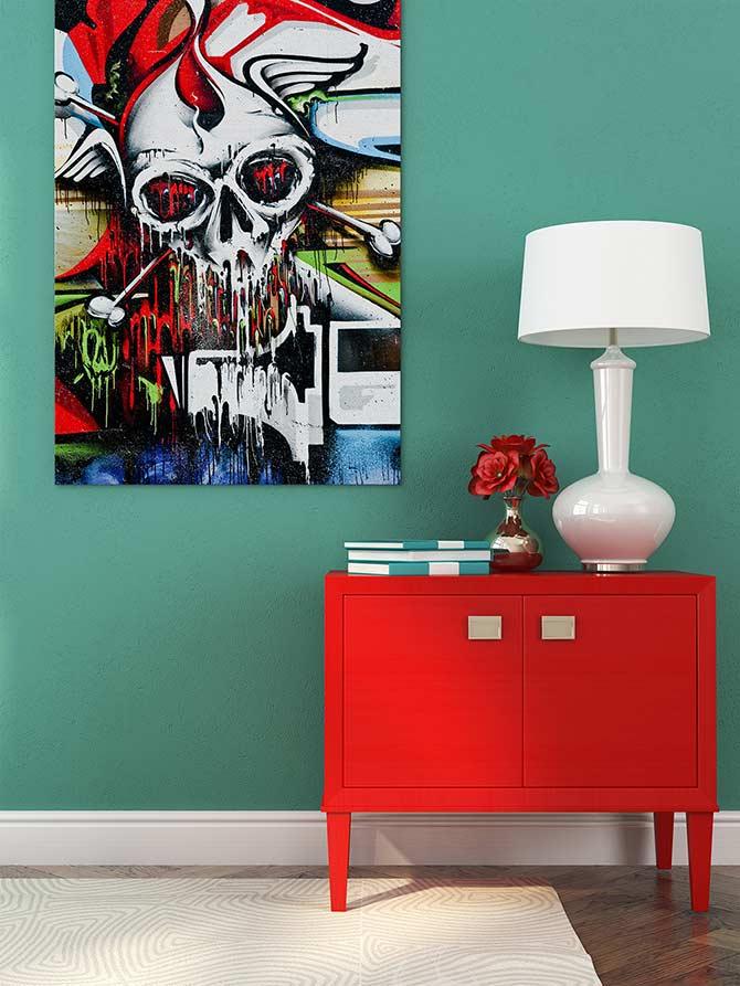 Cool Graffiti Skull Print