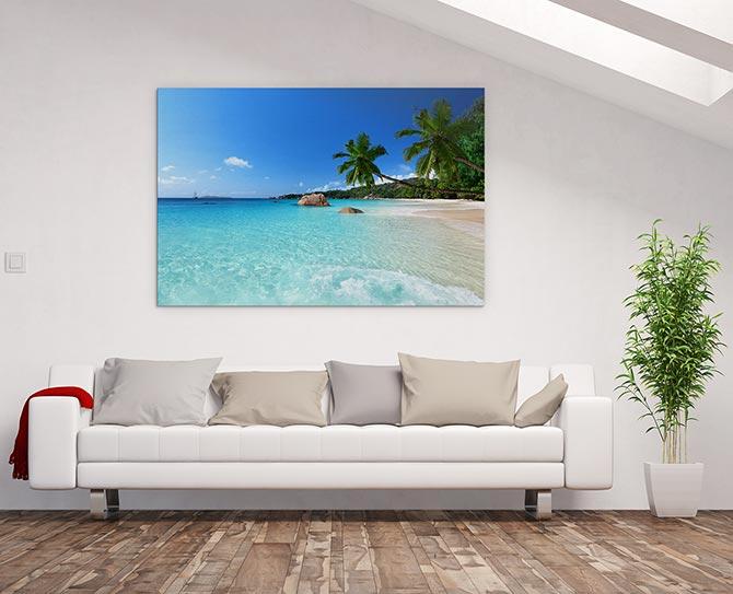 Beach island water art print