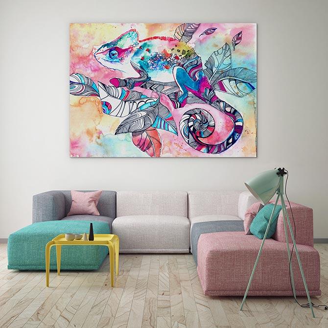 Watercolour Painting Ideas - Chameleon