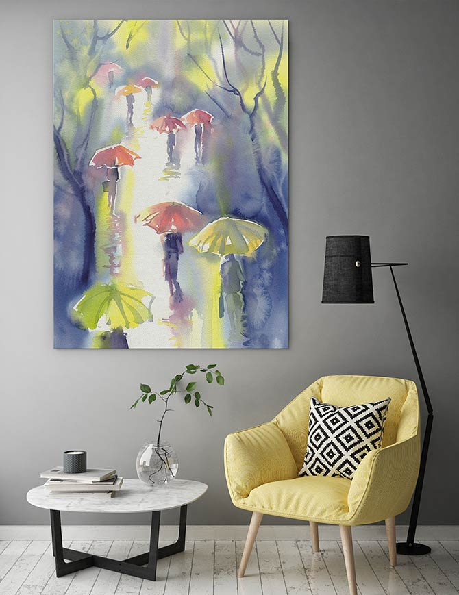 Watercolour Painting Ideas - Rain