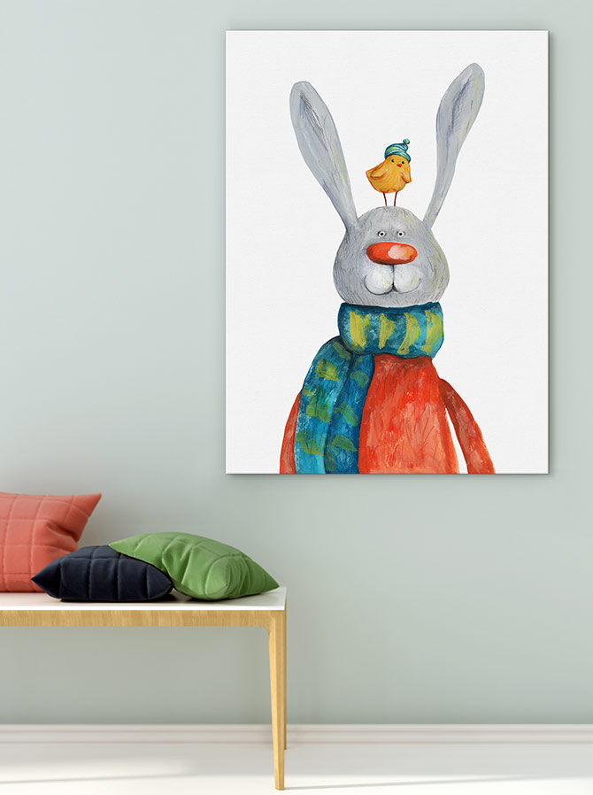 Easter art - chick and bunny are the best of friends