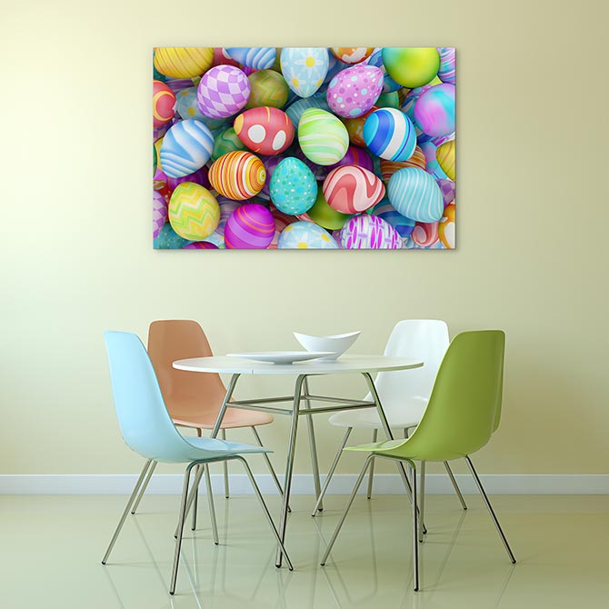 Easter art - a bunch of brightly coloured Easter eggs
