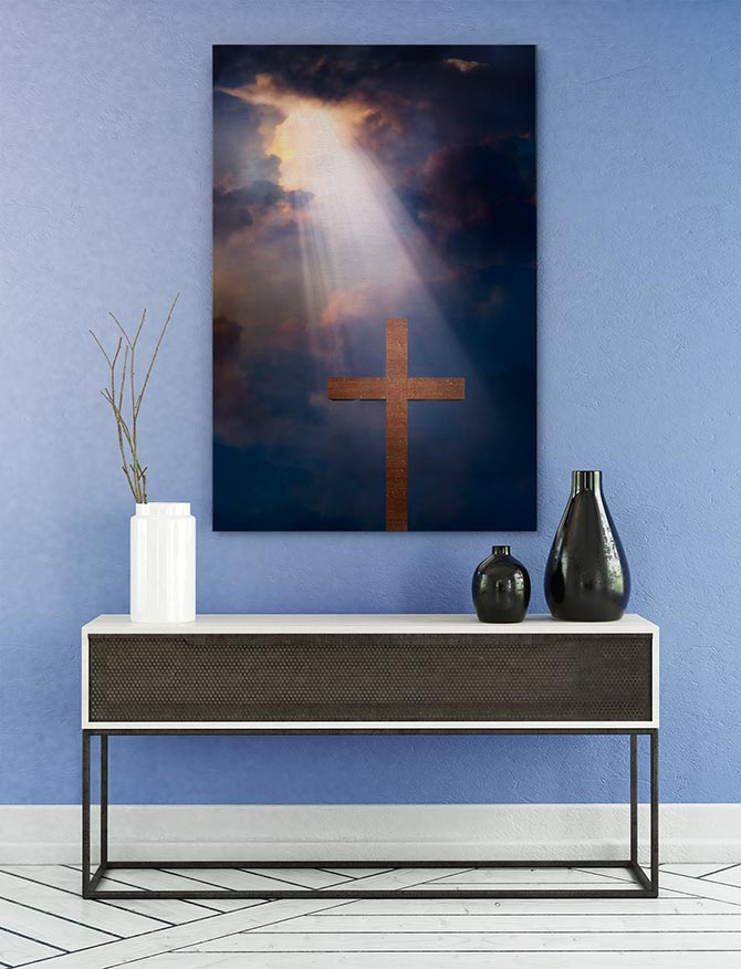 Golden rays shining down on a cross makes for great Easter art