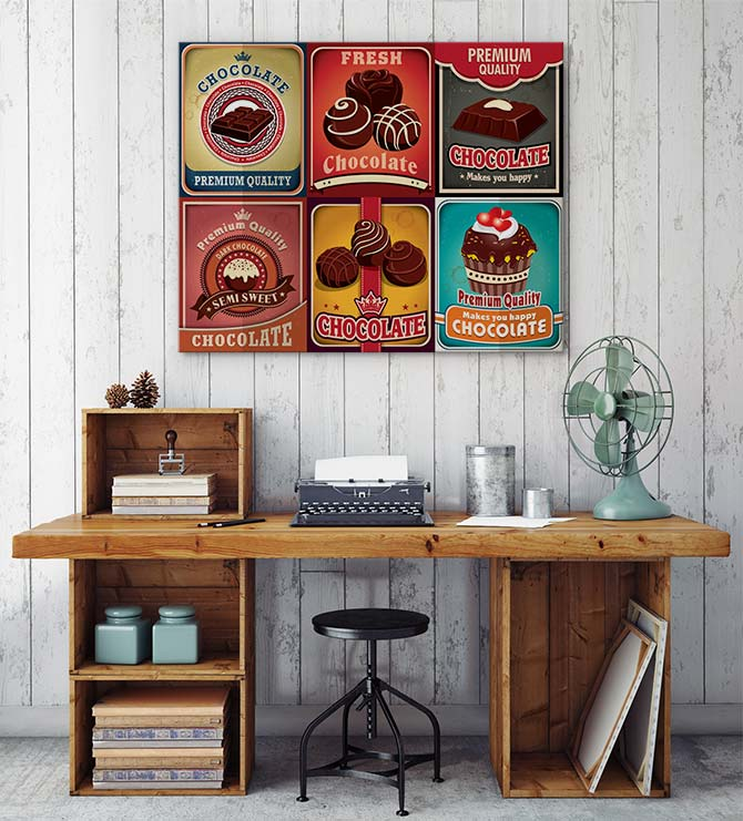 Yummy chocolate as vintage style easter art