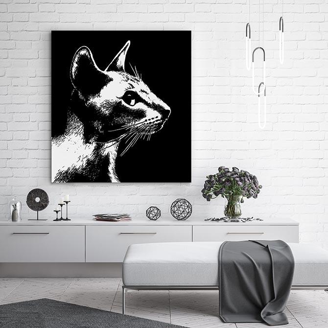 black and white cat art